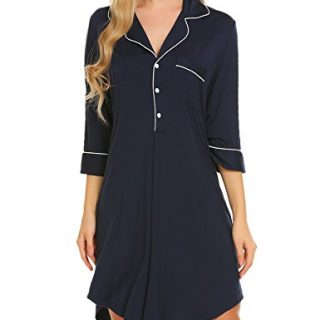 Ekouaer Boyfriend Style Sexy Cotton Nightgown Sleep Shirt For Women