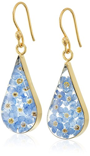 14k Gold Over Sterling Silver Blue Pressed Flower Teardrop Earrings
