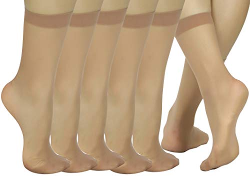 ToBeInStyle Women's Pack Of 6 Sheer Nylon Ankle To Mid-Calf Short Stockings