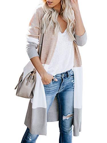 Lovaru Womens Boho Open Front Cardigan Colorblock Long Sleeve Loose Knit