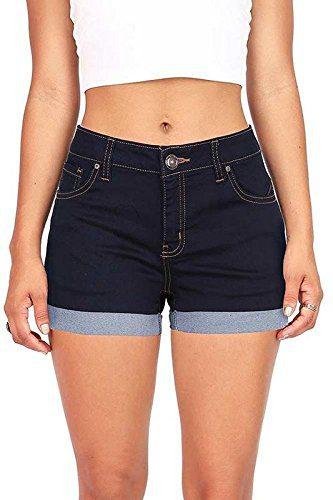 Wax Juniors Denim Shorts (Super Dark Denim, Small)