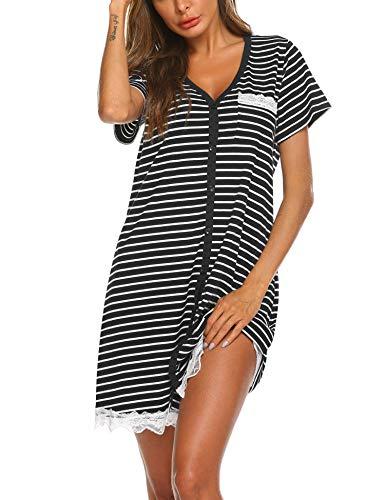 Ekouaer Women's Nightgown Cotton Sleep Shirt Striped Short Sleeve Nightshirt