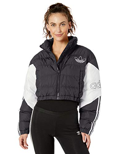 adidas Originals Women's Cropped Puffer Sweatshirt, black/White