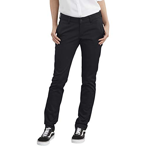 Dickies Women's Straight Flex Twill Pant, Rinsed Black, 8