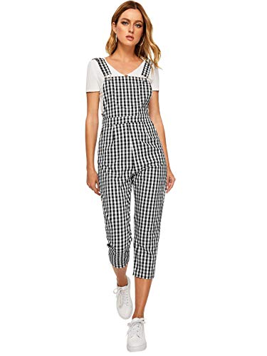 SOLY HUX Women Gingham Pocket Side Pinafore Long Bib Overall Plaid Suspender