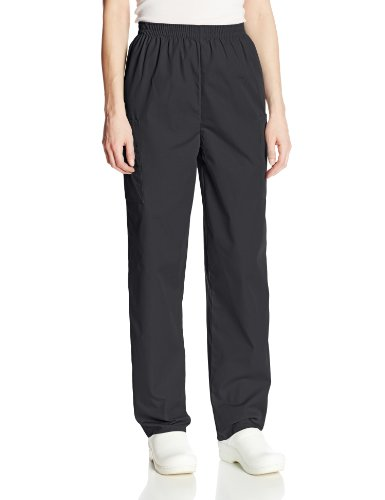 Cherokee Women's Workwear Elastic Waist Cargo Scrubs Pant, Black, Medium Petite
