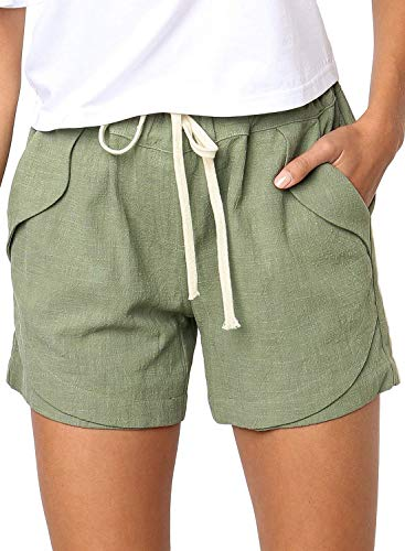 BLENCOT Women's Summer Drawstring Elastic Waist Casual Solid Comfy Cotton