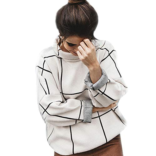 Chicwish Women's Comfy Casual Long Sleeve Cream Grid Turtleneck Knit