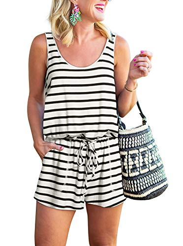 REORIA Womens Casual Summer One Piece Sleeveless Tank Top Striped Playsuits
