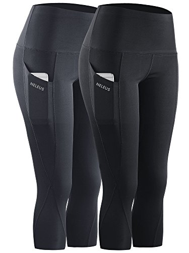 Neleus 2 Pack Tummy Control High Waist Workout Yoga Capri Leggings Yoga Pants