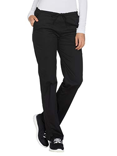 CHEROKEE Workwear Core Stretch Mid Rise Drawstring Pant Black M