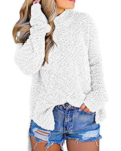 Imily Bela Womens Fuzzy Knitted Sweater Sherpa Fleece Side Slit Full Sleeve