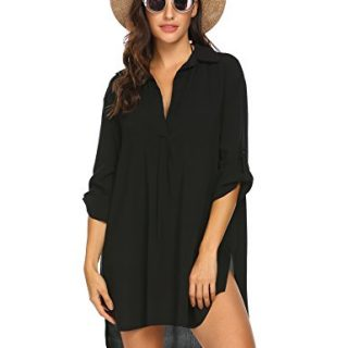 Ekouaer Women's Beachwear 3/4 Sleeves Swimsuit Cover Up Sexy Beach