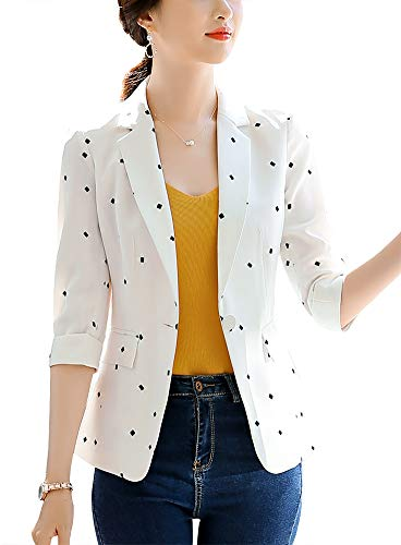 SUSIELADY Women's Casual One Button Blazer Jacket Slim Fit Work Office Blazer
