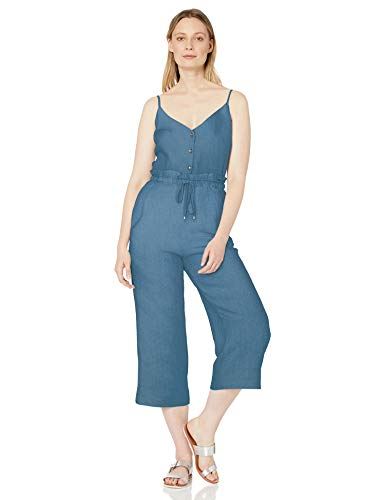 Splendid Women's Long Romper Jumpsuit, Sleeveless Wide Leg Dark Indigo