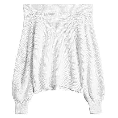 ZAFUL Women's Knit Sweater Lantern Sleeve Casual Batwing Sleeve Off Shoulder