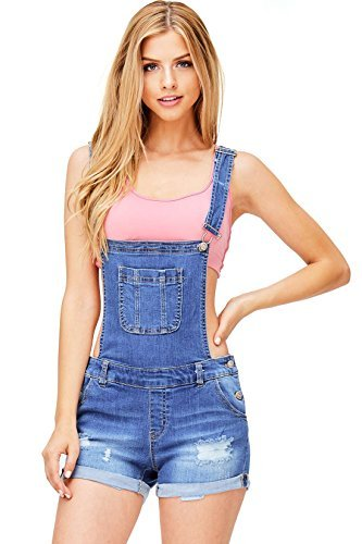 Wax Women's Juniors Cute Denim Overall Shorts
