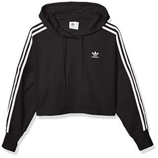 adidas Originals Women's Cropped Hooded Sweatshirt, black