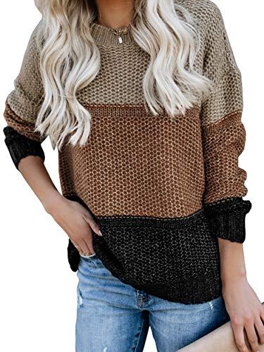 Ybenlow Womens Color Block Oversized Crewneck Sweaters Striped Long Sleeve