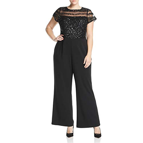 Adrianna Papell Women's Plus Size Short Sleeve Jumpsuit
