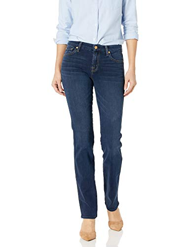 7 For All Mankind Women's Straght Leg Jean, Dark Moonlight Bay
