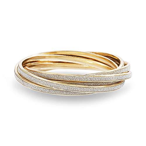 Steve Madden Yellow Gold Tone Glitter Design Interlocking Bangle Bracelet