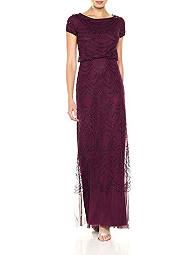 Adrianna Papell Women's Short Sleeve Beaded Blouson Gown, Cassis