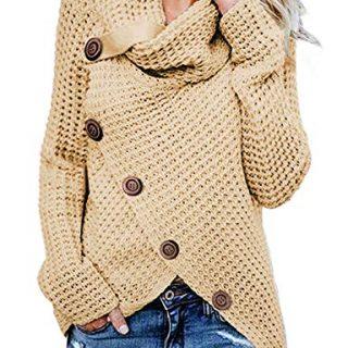 Asvivid Womens Cozy Turtleneck Cowl Neck Long Sleeve Sweater Winter