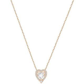 Swarovski Jewelry Rose-Gold Tone White Sparkling Dance Heart Necklace