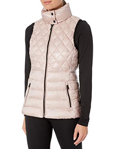 Calvin Klein Women's Quilted Poly Vest, Metallic Bare, Medium