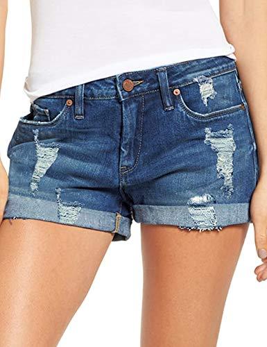 LookbookStore Women's Mid Rise Rolled Hem Distressed Jeans Ripped Denim