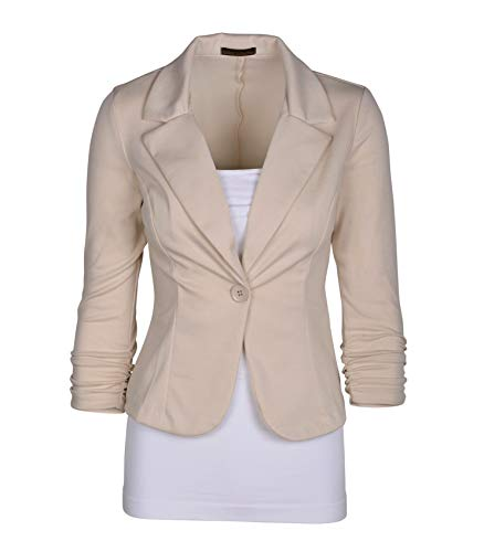 Auliné Collection Women's Casual Work Solid Color Knit Blazer Cappuccino