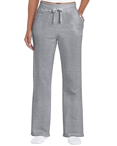 Gildan Women's Open Bottom Sweatpants, Sport Grey, Large