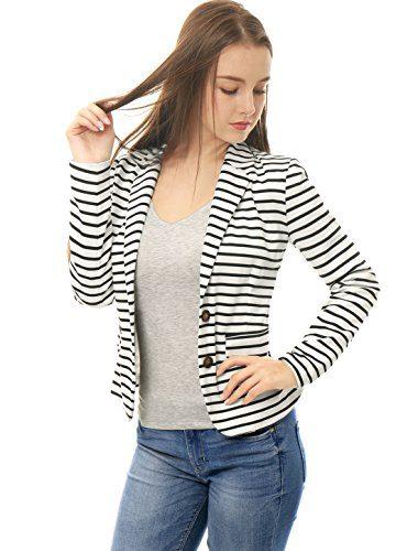 Allegra K Women's Notched Lapel Pocket Button Closure Striped Blazer White