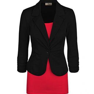 Women's Casual Work Office Blazer Jacket Black Large