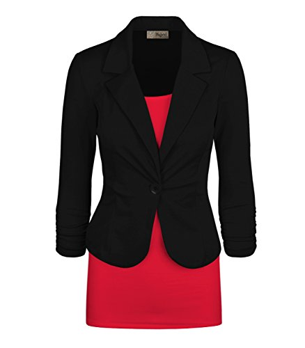 Women's Casual Work Office Blazer Jacket Black Large