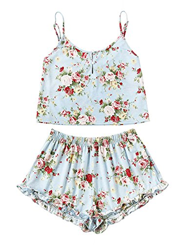 SheIn Women's Summer Floral Print Cami Top and Shorts Pajamas Set
