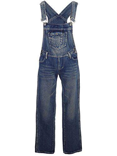 Anna-Kaci Womens Vintage Wash Straight Leg Denim Overalls with Pocket Bib