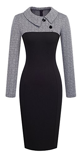 HOMEYEE Women's Retro Chic Colorblock Lapel Career Tunic Dress
