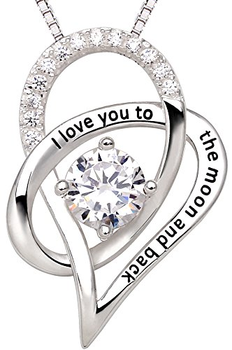 ALOV Jewelry Sterling Silver I Love You to The Moon and Back Love Heart