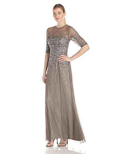 Adrianna Papell Women's 3/4 Sleeve Beaded Illusion Gown with Sweetheart Neckline