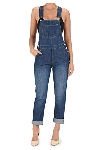 TwiinSisters Women's Basic Boyfriend Fit Denim Bib Overalls Plus