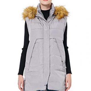 Orolay Women's Winter Long Down Vest with Faux Fur Trimmed Hood Casual Zip