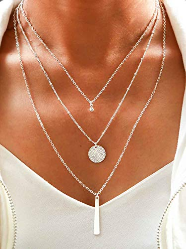 Yalice Multi-Layered Disc Necklace Chain Bar Drop Pendant Necklaces
