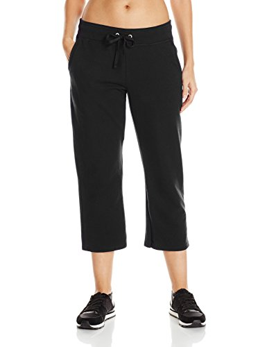 Hanes Women's French Terry Capri, Black, Large