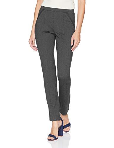 Rafaella Women's Ponte Comfort Fit Slim Leg Pants, Charcoal Heather