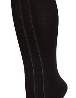 Hue Women's Flat Knit Knee Sock 3 Pack, New Black, One Size