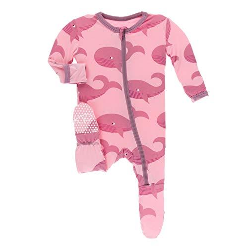 KicKee Pants Print Footie with Zipper (6-9 Months, Lotus Whales)