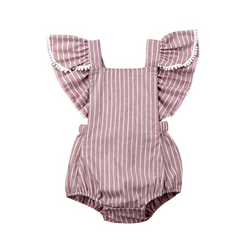 Listogether Summer Newborn Kids Baby Girls Cute Stripe Tassels Romper Bodysuit