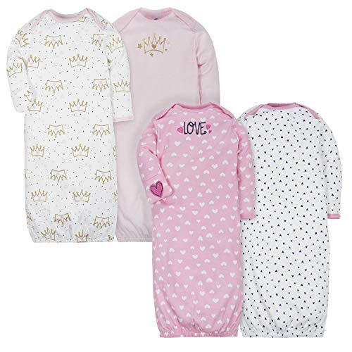 GERBER Baby Girls 4-Pack Gown, Fox/Princess
